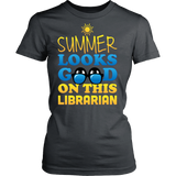 Librarian - Summer Looks Good - District Made Womens Shirt / Charcoal / S - 11