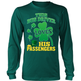 School Bus Driver - St. Patrick's Day His Passengers - District Long Sleeve / Dark Green / S - 6