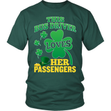 School Bus Driver - St. Patrick's Day Her Passengers - District Unisex Shirt / Dark Green / S - 3