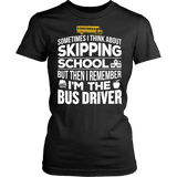 School Bus Driver - Skipping - District Made Womens Shirt / Black / S - 10