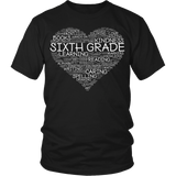 Sixth Grade - Heart - District Unisex Shirt / Black / S - 5