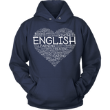 English - Heart - Hoodie / Navy / S - 10
