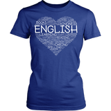 English - Heart - District Made Womens Shirt / Royal / S - 1