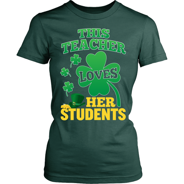 Teacher - St. Patrick's Day Her Students - District Made Womens Shirt / Forest Green / S - 1