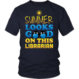 Librarian - Summer Looks Good - District Unisex Shirt / Navy / S - 5