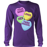 Third Grade - Candy Hearts - District Long Sleeve / Purple / S - 8