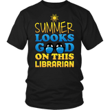 Librarian - Summer Looks Good - District Unisex Shirt / Black / S - 7