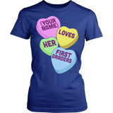 First Grade - Candy Hearts - District Made Womens Shirt / Royal / S - 12