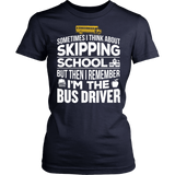 School Bus Driver - Skipping - District Made Womens Shirt / Navy / S - 13