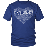 Sixth Grade - Heart - District Unisex Shirt / Royal Blue / S - 2