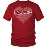 English - Heart - District Unisex Shirt / Red / S - 3