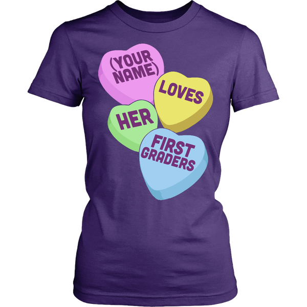 First Grade - Candy Hearts - District Made Womens Shirt / Purple / S - 10
