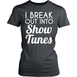 Theater - Show Tunes - District Made Womens Shirt / Charcoal / S - 12