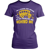 School Bus Driver - Problems - District Made Womens Shirt / Purple / S - 11