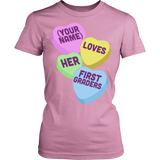 First Grade - Candy Hearts - District Made Womens Shirt / Pink / S - 11