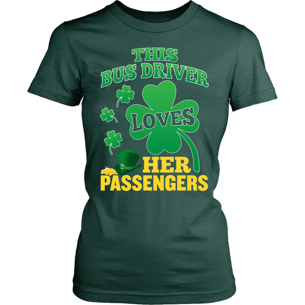 School Bus Driver - St. Patrick's Day Her Passengers - District Made Womens Shirt / Forest Green / S - 1