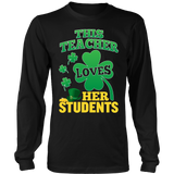 Teacher - St. Patrick's Day Her Students - District Long Sleeve / Black / S - 8