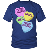 Third Grade - Candy Hearts - District Unisex Shirt / Royal Blue / S - 2