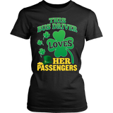 School Bus Driver - St. Patrick's Day Her Passengers - District Made Womens Shirt / Black / S - 11