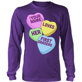 First Grade - Candy Hearts - District Long Sleeve / Purple / S - 8