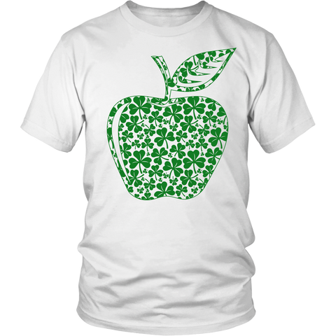 Teacher - Apple Clovers - Broken - District Unisex Shirt / White / S - 1