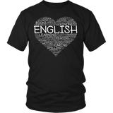 English - Heart - District Unisex Shirt / Black / S - 5