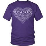Sixth Grade - Heart - District Unisex Shirt / Purple / S - 4