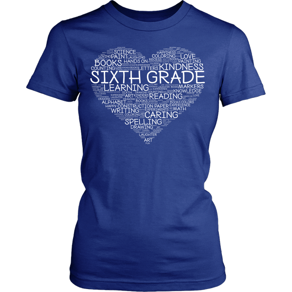 Sixth Grade - Heart - District Made Womens Shirt / Royal / S - 1