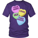 Third Grade - Candy Hearts - District Unisex Shirt / Purple / S - 4