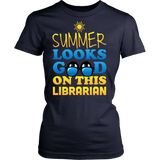 Librarian - Summer Looks Good - District Made Womens Shirt / Navy / S - 12
