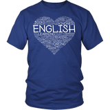 English - Heart - District Unisex Shirt / Royal Blue / S - 2