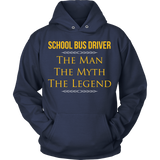 School Bus Driver - The Man The Myth - Hoodie / Navy / S - 11