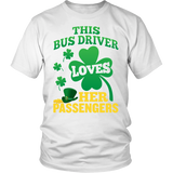 School Bus Driver - St. Patrick's Day Her Passengers - District Unisex Shirt / White / S - 2