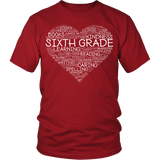 Sixth Grade - Heart - District Unisex Shirt / Red / S - 3