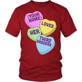 Third Grade - Candy Hearts - District Unisex Shirt / Red / S - 3