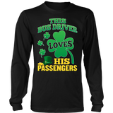 School Bus Driver - St. Patrick's Day His Passengers - District Long Sleeve / Black / S - 8