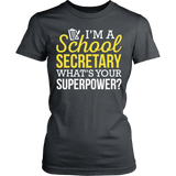 Secretary - Superpower - District Made Womens Shirt / Charcoal / S - 12