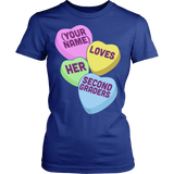 Second Grade - Candy Hearts - District Made Womens Shirt / Royal / S - 12