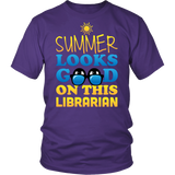 Librarian - Summer Looks Good - District Unisex Shirt / Purple / S - 4