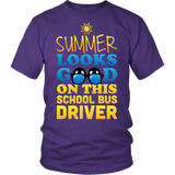 School Bus Driver - Summer Looks Good - District Unisex Shirt / Purple / S - 3