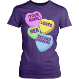 Second Grade - Candy Hearts - District Made Womens Shirt / Purple / S - 10