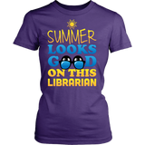 Librarian - Summer Looks Good - District Made Womens Shirt / Purple / S - 9