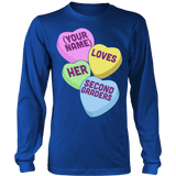 Second Grade - Candy Hearts - District Long Sleeve / Royal Blue / S - 6