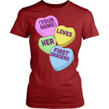 First Grade - Candy Hearts - District Made Womens Shirt / Red / S - 14
