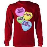 First Grade - Candy Hearts - District Long Sleeve / Red / S - 7