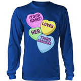 Third Grade - Candy Hearts - District Long Sleeve / Royal Blue / S - 6