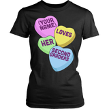 Second Grade - Candy Hearts - District Made Womens Shirt / Black / S - 9