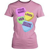Second Grade - Candy Hearts - District Made Womens Shirt / Pink / S - 11