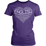 English - Heart - District Made Womens Shirt / Purple / S - 12