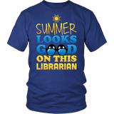 Librarian - Summer Looks Good - District Unisex Shirt / Royal Blue / S - 3